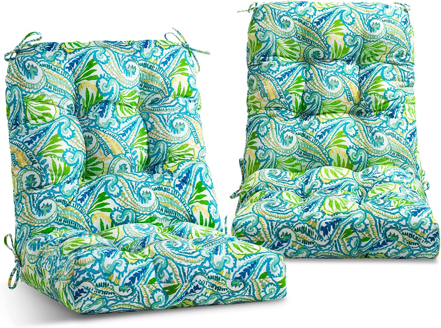EAGLE PEAK Tufted Outdoor/Indoor Seat/Back Chair Cushion, Set of 2, 42'' x 21'', Blue Paisley