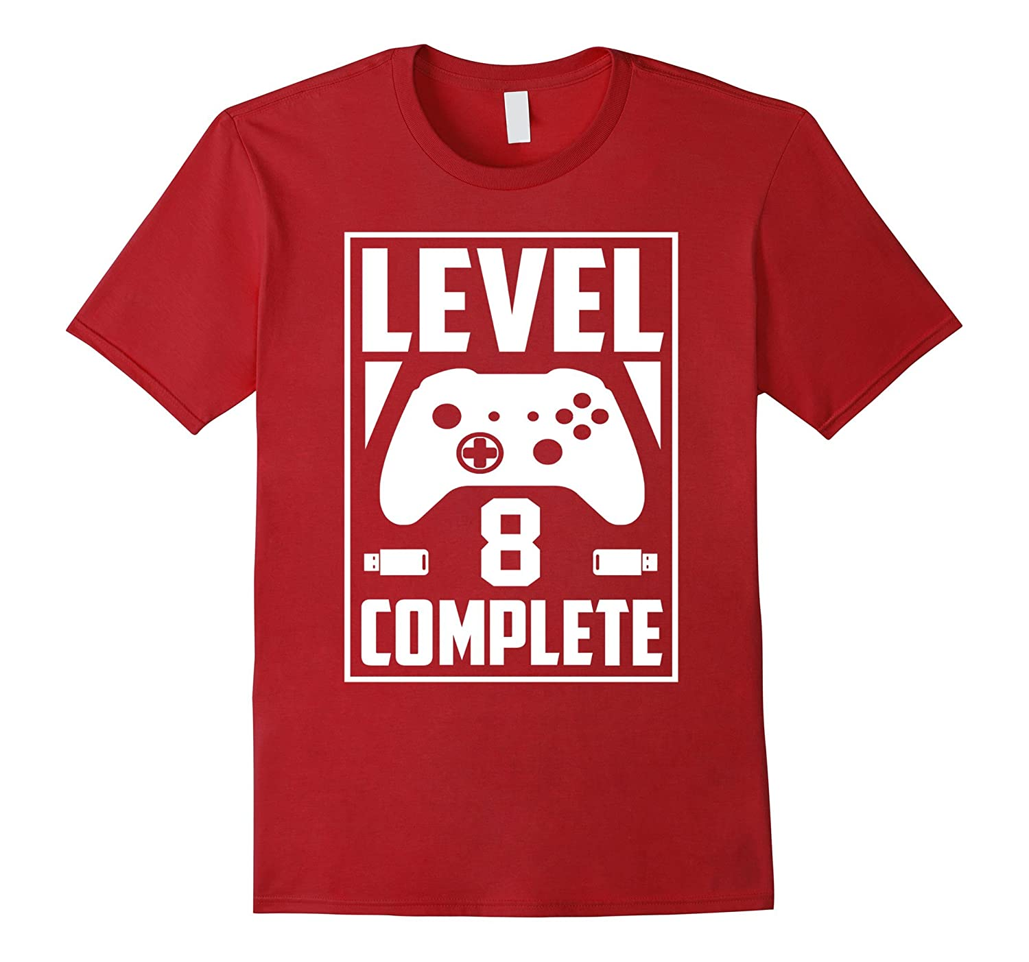Level 8 Complete Video Gamer Geek Boys 8th Birthday Shirt Vaci