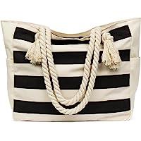 Malirona LargeBeachTravelToteBag CanvasShoulder Bag with Cotton Rope Handle