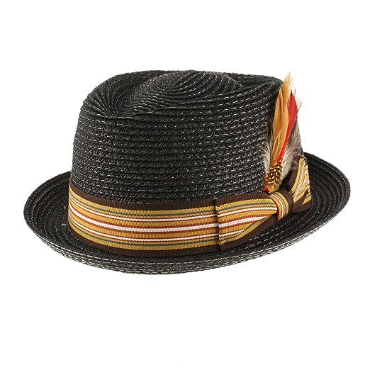 6816e5a8ded SK Hat shop Men s Summer Porkpie Gambler Derby Fedora Removal Feather Hat S M  Black