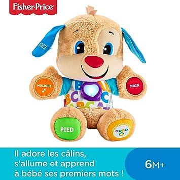 700602837b6e43 Fisher-Price Puppy Eveil Progressif jouet bébé, peluche interactive, plus  de 50 chansons