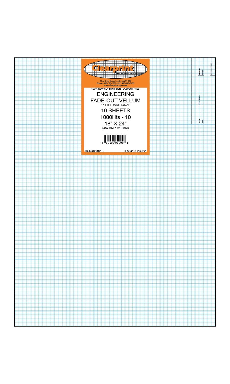 Clearprint 1000H Design Vellum Sheets with Architect Title Block and Printed Fade-Out 10x10 Grid, 100% Cotton, 18 x 24 Inches, 10 Sheets (10223222) by Clearprint