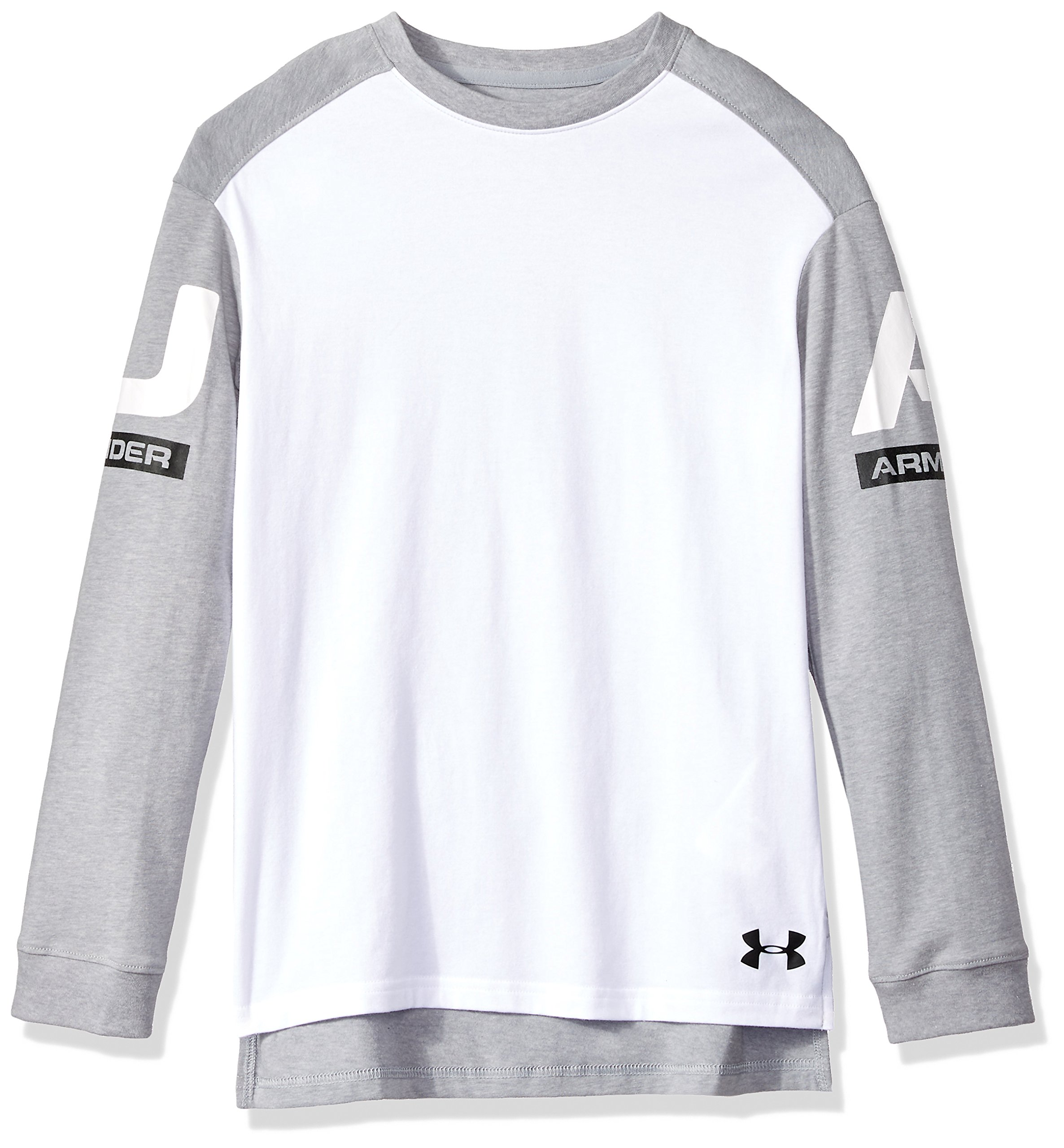 Under Armour Boys Sportstyle Long Sleeve Crew, White (100)/Black, Youth Medium