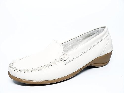 Zapato mujer casual mocasin marca DELTELL en piel color beige 100 ...