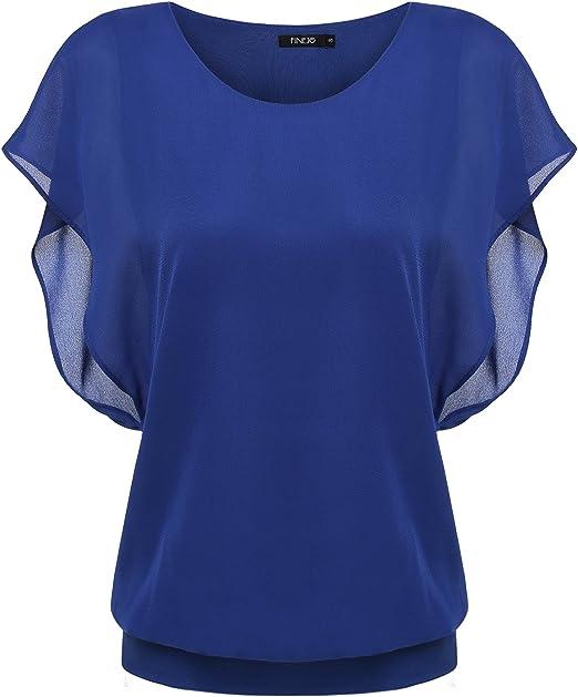 Chiffon Top Sommer Bluse Fledermaus Tunika Shirtbluse Kurzarm* S M L-36 38 40