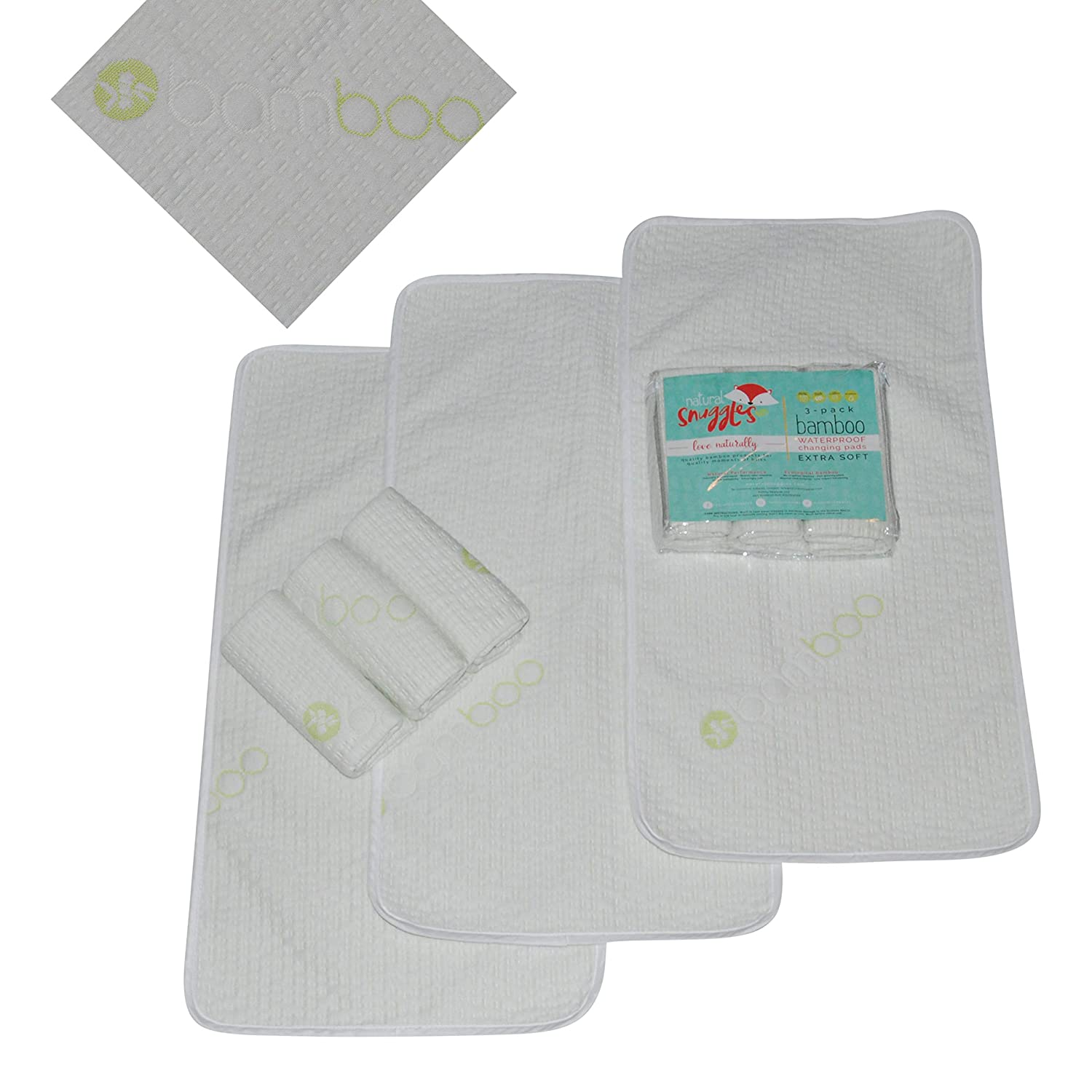 Waterproof Baby Changing Table Pads 3 Pack - Extra Soft Bamboo Baby Diaper Changing Liners -...