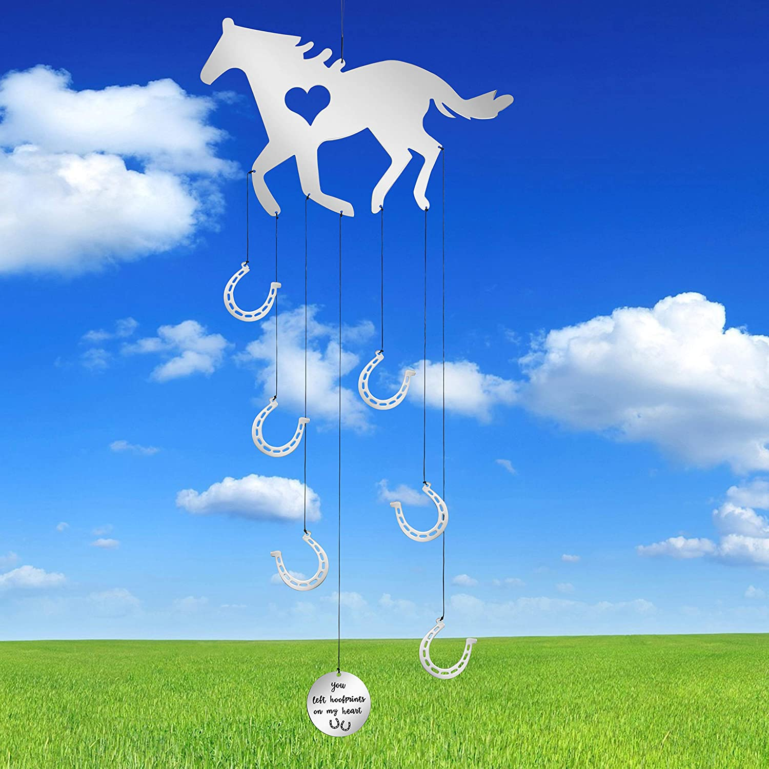 MEMGIFT Horse Memorial Wind Chimes Outside Home Garden for Outdoor Hanging Yard Porch Patio Handmade Trendy for Horse Lovers Daughter Sister Women Best Friend You Left hoofprints on My Heart