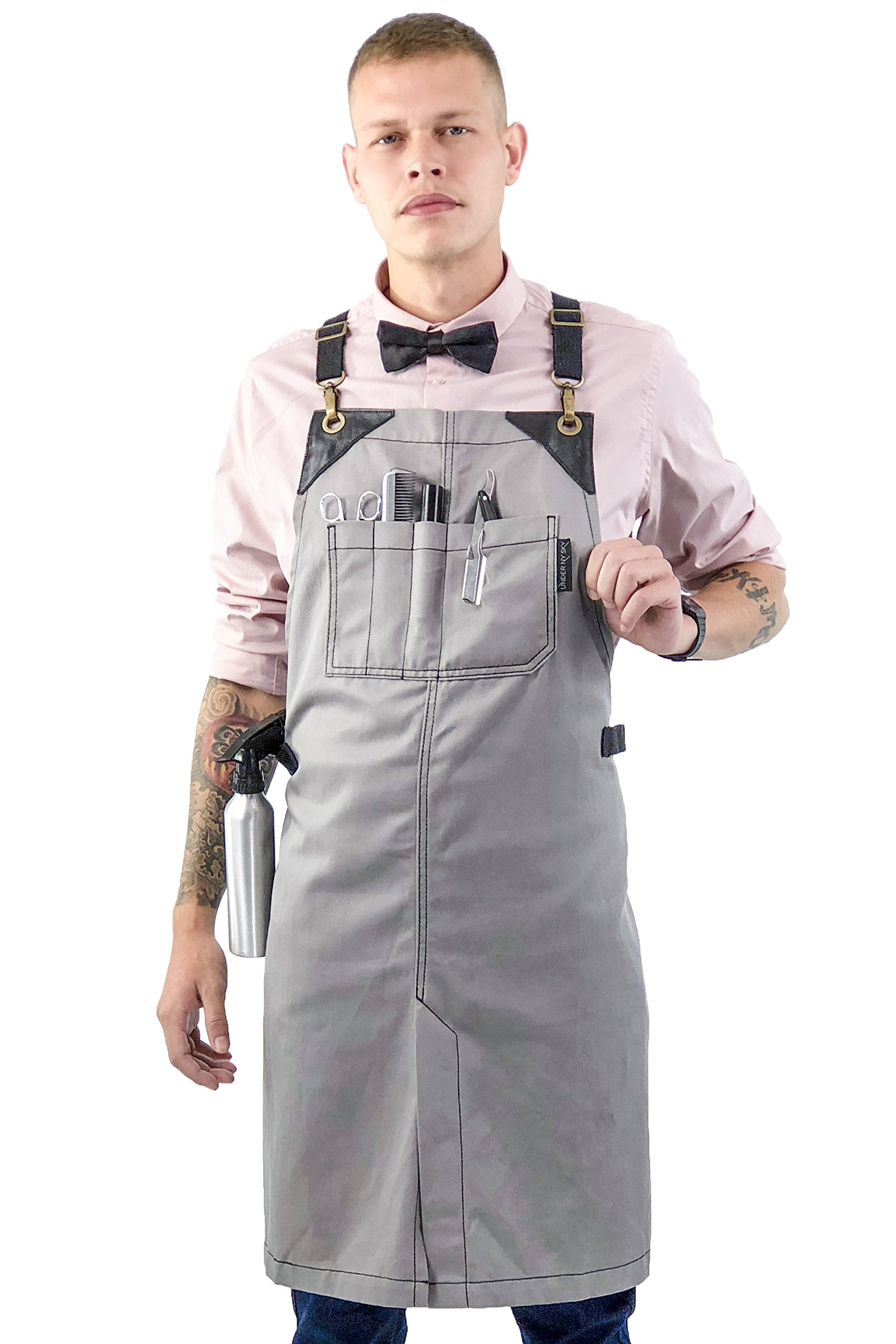 Under NY Sky Barber Moonstone Gray Apron – Cross-Back with Durable Waterproof and Oil Proof Twill, Leather Reinforcement, Split-Leg – Adjustable, Men and Women, Pro Tattoo, Stylist, Bartender Aprons
