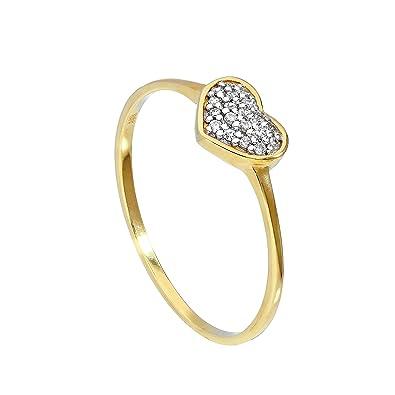 Très jolie bague en forme de Cœur en Or Jaune 9 Carats et Oxydes de Zirconium