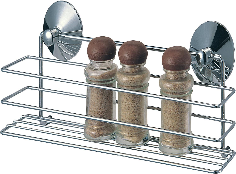MSV 110271 - Especiero de Metal Cromado y PVC con sujeción de ventosas (30,5 x 8,5 x 10 cm)