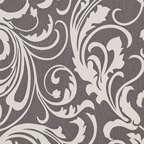 Smoke Black And White Floral Wallpaper For Walls Double Roll