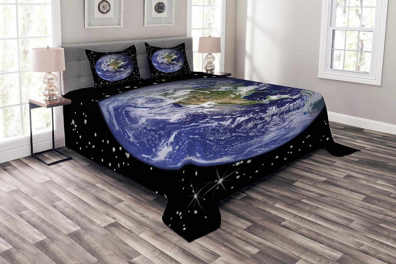 Lunarable Earth ベッドスプレッド 北米の星と月 宇宙飛行士の目 銀河 宇宙のテーマ 装飾キルトカバーセット 枕カバー付き ブラック ブルー グリーン クイーン bed_9051_queen B07H8KK852 マルチ1 クイーン