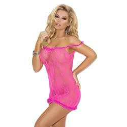 Elegant Moments Women's Stretch Lace Chemise with Satin Bow Detail