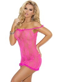 Elegant Moments Women's Stretch Lace Chemise with Satin Bow Detail.