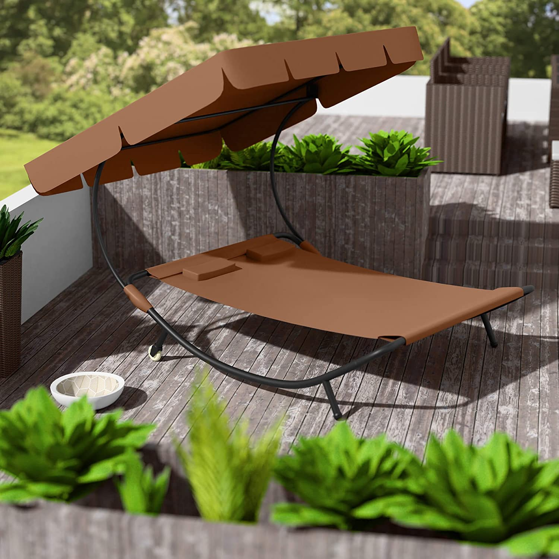 TecTake 800089 Tumbona de Jardín con Parasol y 2 Cojines | 2 Plazas (Marrón | No. 401222)