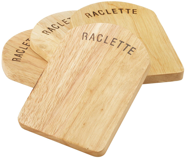 Kela 77937 Raclette-Pfannenuntersetzer-Set, 4 Stück, 14 x 9,5 cm, Holz, Baar 4 Stück