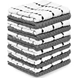 Zeppoli Kitchen Towels- 12 Pack Dish Dobby Weave Towels - Soft Absorbent Cotton Hand and Tea Towels -Essential Bar Dish Clot