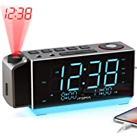iTOMA Electronic Time Projection Alarm Clock with USB Charging Port