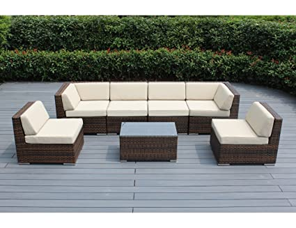 Ohana 7 Piece Outdoor Patio Furniture Sectional Conversation Set, Mixed  Brown Wicker With Beige