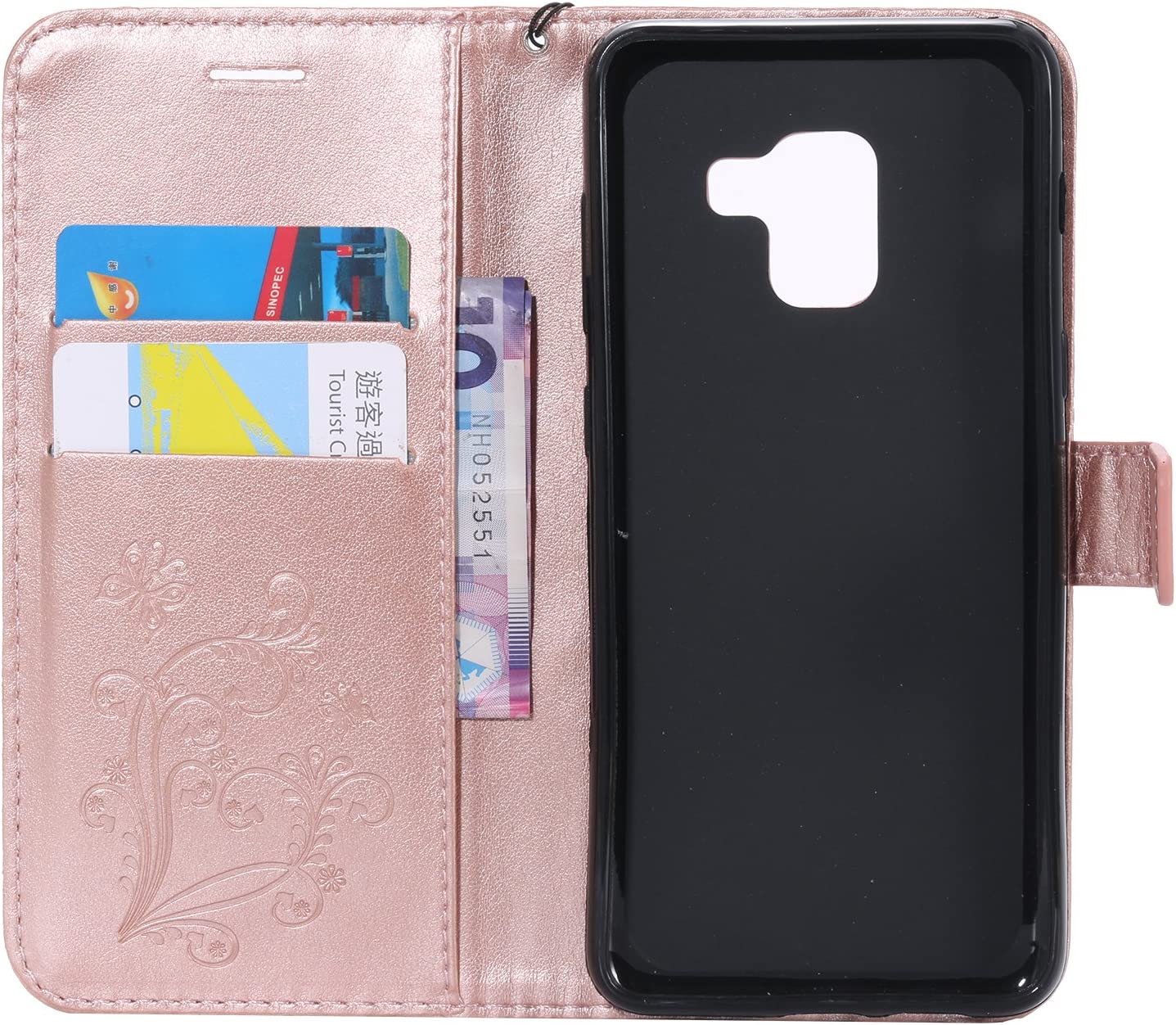 Amocase Wallet Leather Case with 2 in 1 Stylus for Samsung Galaxy A8 2018,Premium Strap 3D Butterfly Magnetic PU Leather Stand Shockproof Card Slot Case for Samsung Galaxy A8 2018 Green