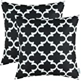 CaliTime Pack of 2 Soft Canvas Throw Pillow Covers Cases for Couch Sofa Home Decor Modern Quatrefoil Accent Geometric 18…