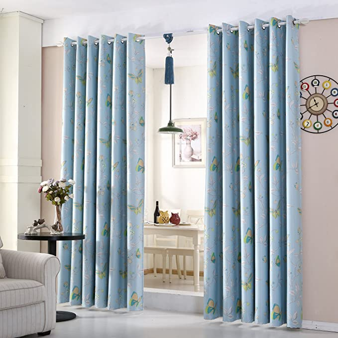 Blue Butterfly Semi Blackout Curtains Pair Of Ready Made Eyelet Ring Top Window Treatment Panels 66x72 Inch Amazoncouk Baby