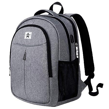 Gemeer Travel Laptop Backpack,Business Laptops Backpack with USB Charging Port, Waterproof Computer Bag for Travel Grey M