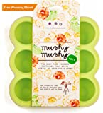 Mushy Mushy Weaning Pots - Easy To Remove Baby Food Storage Container with Lid Prevents Freezer Burn - BPA Free Silicone Trays - Includes Quick Start Recipe eBook (Green)