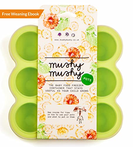 Weaning Pots by Mushy Mushy - Easy To Remove Baby Food Storage Container with Lid to prevent Freezer Burn - BPA Free Silicone Trays - Free Recipe eBook - Give Your Baby The Best Start- (Green)