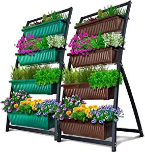 4-Ft Raised Garden Bed - Vertical Garden Freestanding Elevated Planters 4 Container Boxes - Good for Patio Balcony Indoor Outdoor - Cascading Water Drainage (2-Pack Fernie/Forest Green and Brown)
