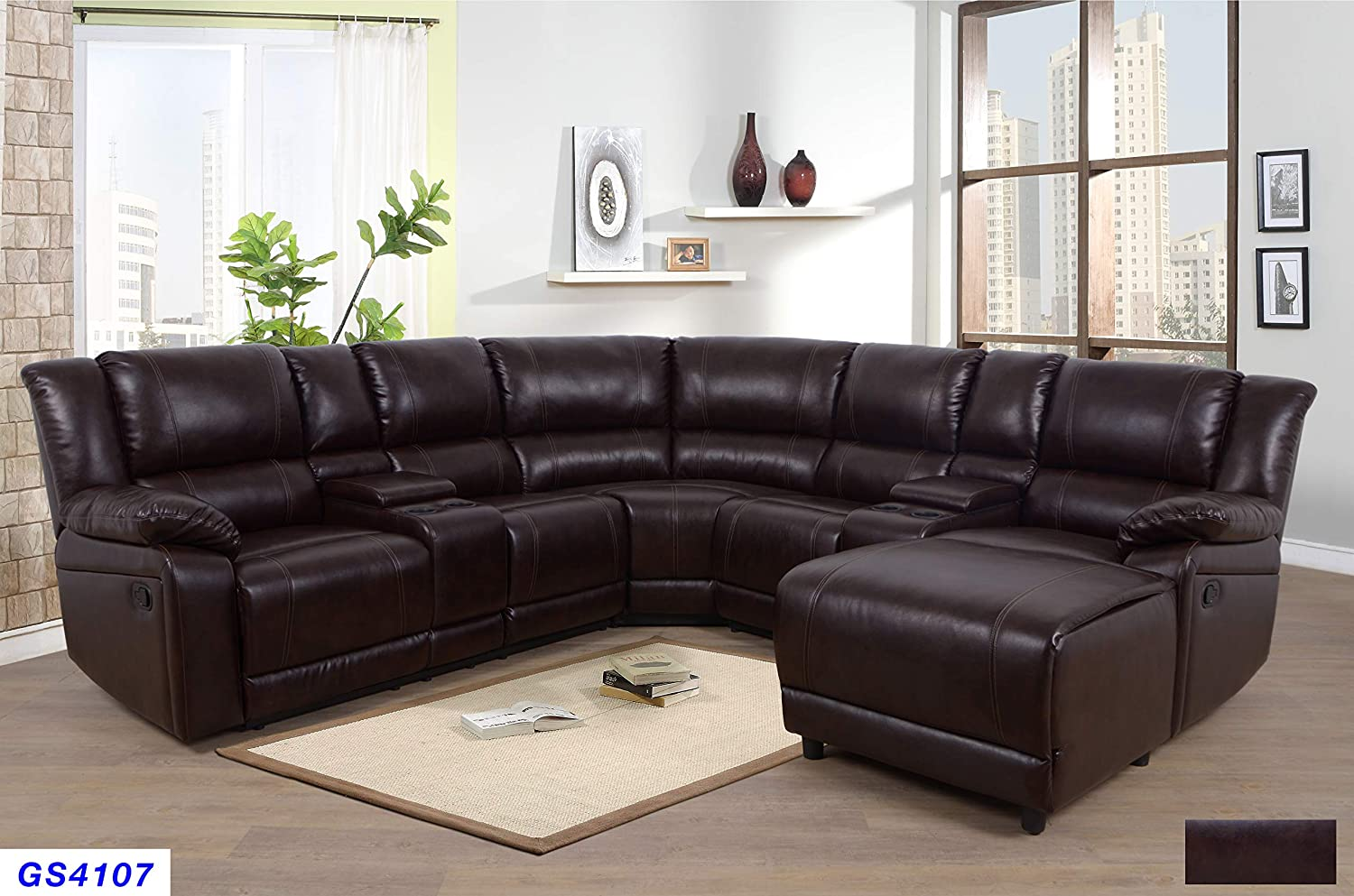 Lifestyle Furniture 5-Pieces Recliner Sectional Sofa Set with Push Back  Chaise,2 Cup Holder Consoles with Lift up Storage,Brown Bonded ...
