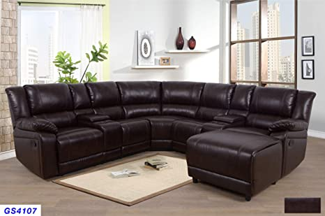 Amazon.com: Lifestyle Furniture 5-Pieces Recliner Sectional Sofa Set ...