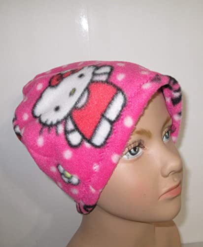 a68a1055f Image Unavailable. Image not available for. Color: Kids Fleece Pastel Hello  Kitty Cap Chemo Hat Alopecia Head Cover Cancer Hat