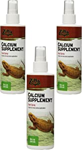 Zilla Reptile Health Supplies Calcium Supplement Food Spray, 8-Ounce (3 Pack)
