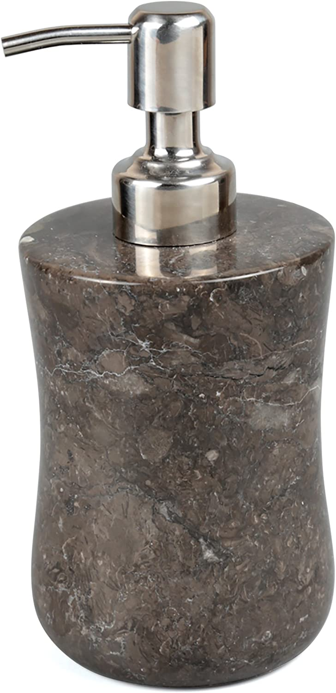 Creative Home Bath Set Charcoal Marble Stone Curvy Collection Liquid Soap, Lotion Dispenser