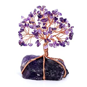 Jovivi Natural Amethyst Tumbled Stones Money Tree Feng Shui Wealth Ornament Tree of Life Healing Crystals Reiki Office Living Room Table Decoration Good Luck Health Figurine Gift
