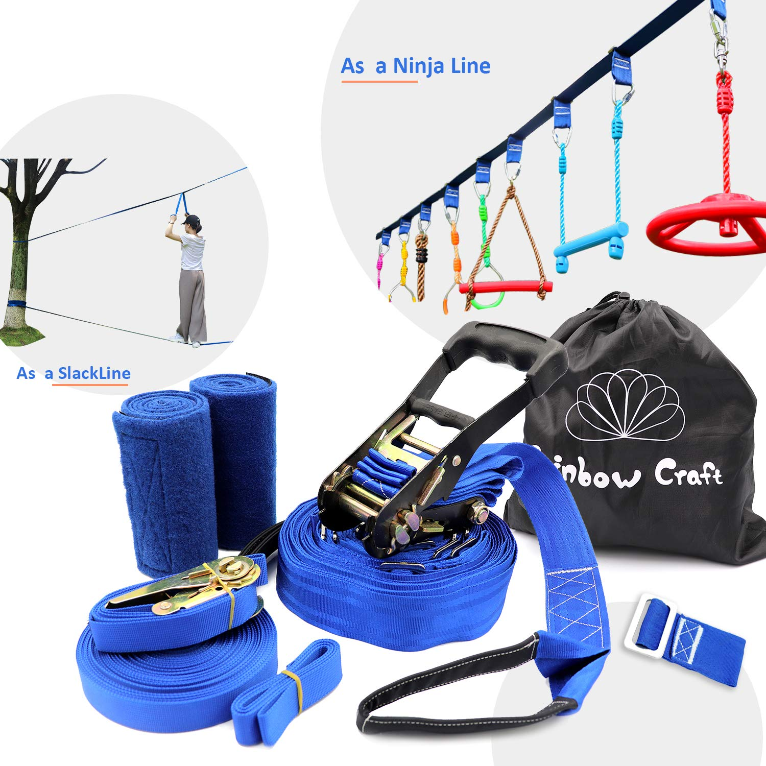Rainbow Craft Hanging Obstacle Course Accessories for Kids (Blue Color Ninja Slackline - Blue Loops(N))