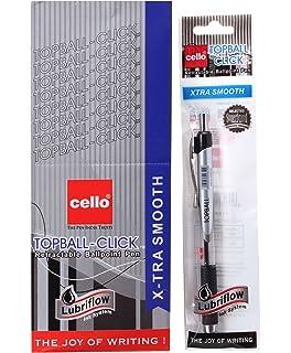 Blue Push Button Retractable METALLIC BODY 5X Cello POWER Fine Ball Point Pen