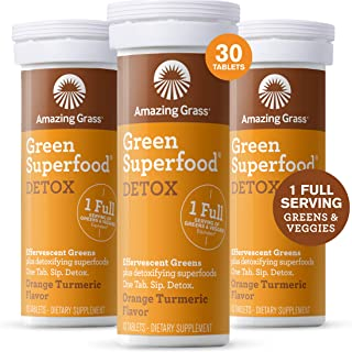 product image for Amazing Grass Effervescent Detox Tablets: Water Flavoring Tablet with Detoxifying Greens & Antioxidants, Orange Turmeric, 30 Count