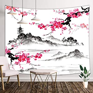 Japanese Tapestry, Asian Anime Mount Fuji with Cherry Blossoms Sakura Flower Tapestry Wall Hanging for Living Room Bedroom Dorm Decor, Black and White Tapestry, 60X40in Small Japan Tapestry