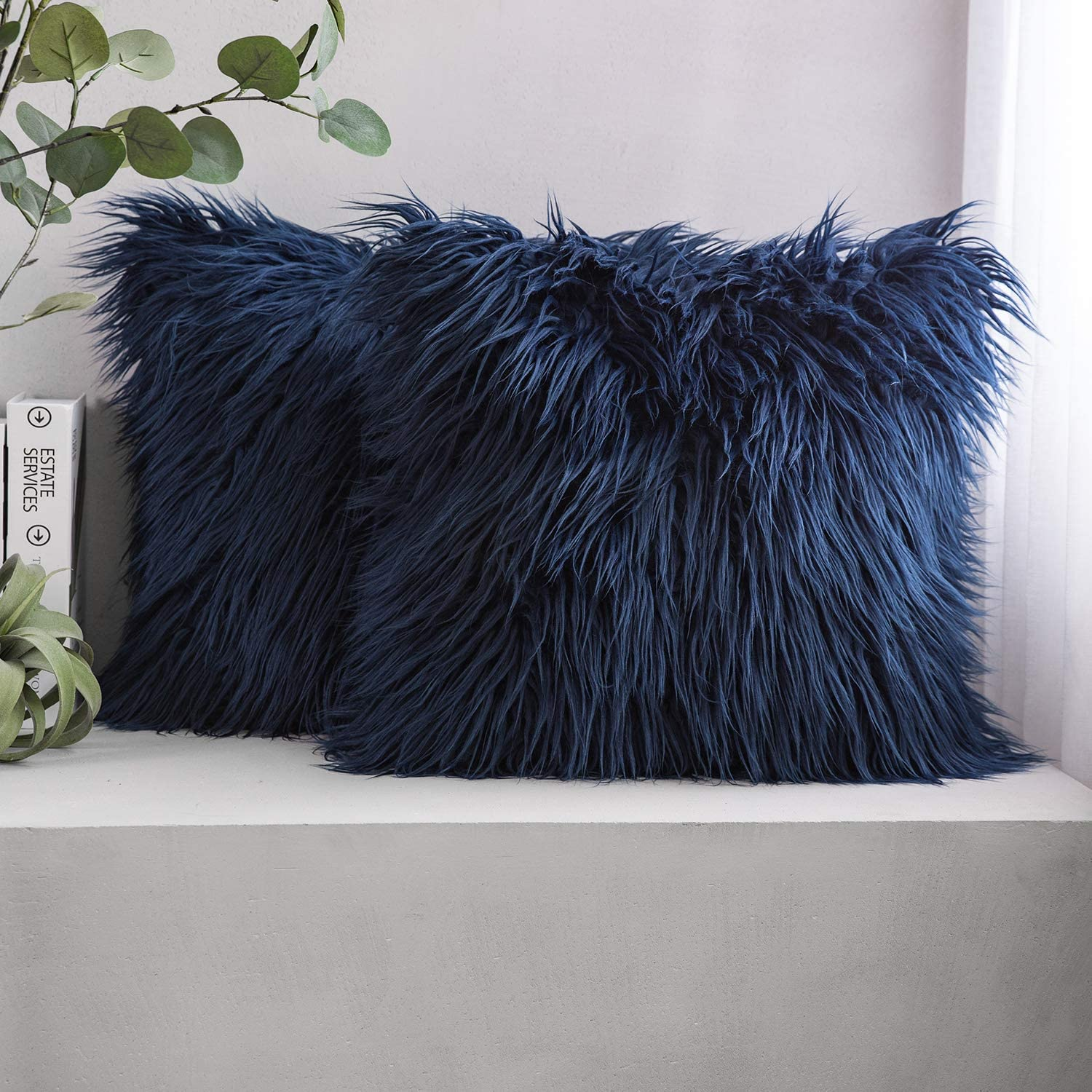Phantoscope Pack of 2 Luxury Series Throw Pillow Covers Faux Fur Mongolian Style Plush Cushion Case for Couch Bed and Chair, Navy Blue 22 x 22 inches 55 x 55 cm