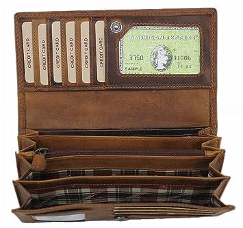 ca9278fa20eb4 Leder Geldbörse Damen große Portemonnaie Portmonee Kreditkartenetui Vintage  Kartenetui XL Geldbeutel Reisebrieftasche Travel Organizer aus hochwertigem