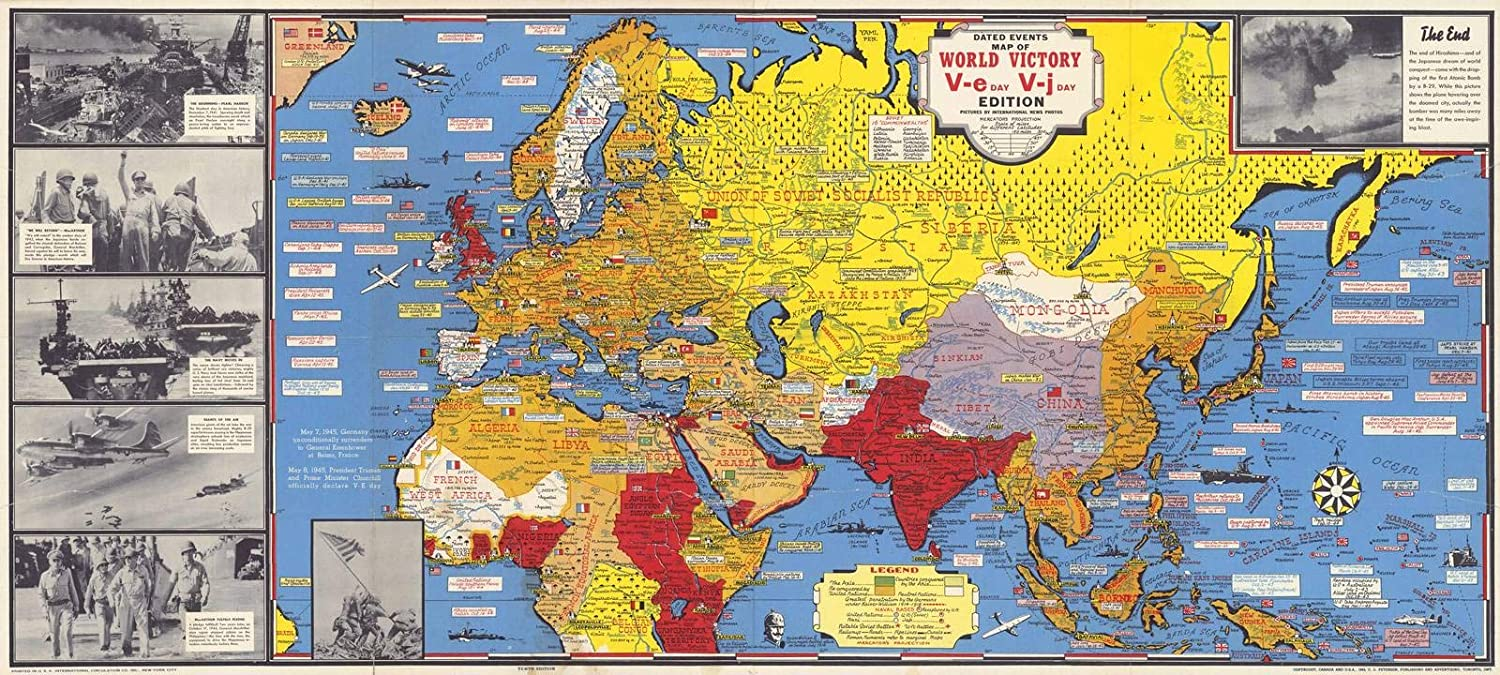 Amazon.com: Historic Map | Dated Events Map of World War II Victory ...