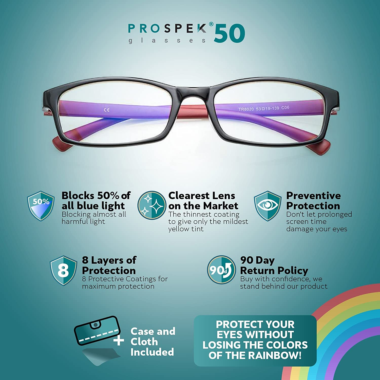 3d858d92f6 Amazon.com   PROSPEK - Premium Computer Glasses - Professional - Blue Light  and Glare Blocking (+0.00 (No Magnification)