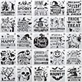 25-Pack Halloween Decoration Stencils 6 x 6 Inch Painting Templates for Scrapbooking Cookie Tile Furniture Wall Floor…