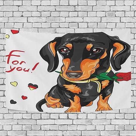 lorvies perro de perro salchicha con rosa roja tapiz colgar en la pared para decoración de