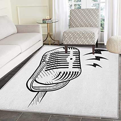 Amazon Com Doodle Rugs For Bedroom Retro Microphone Communication