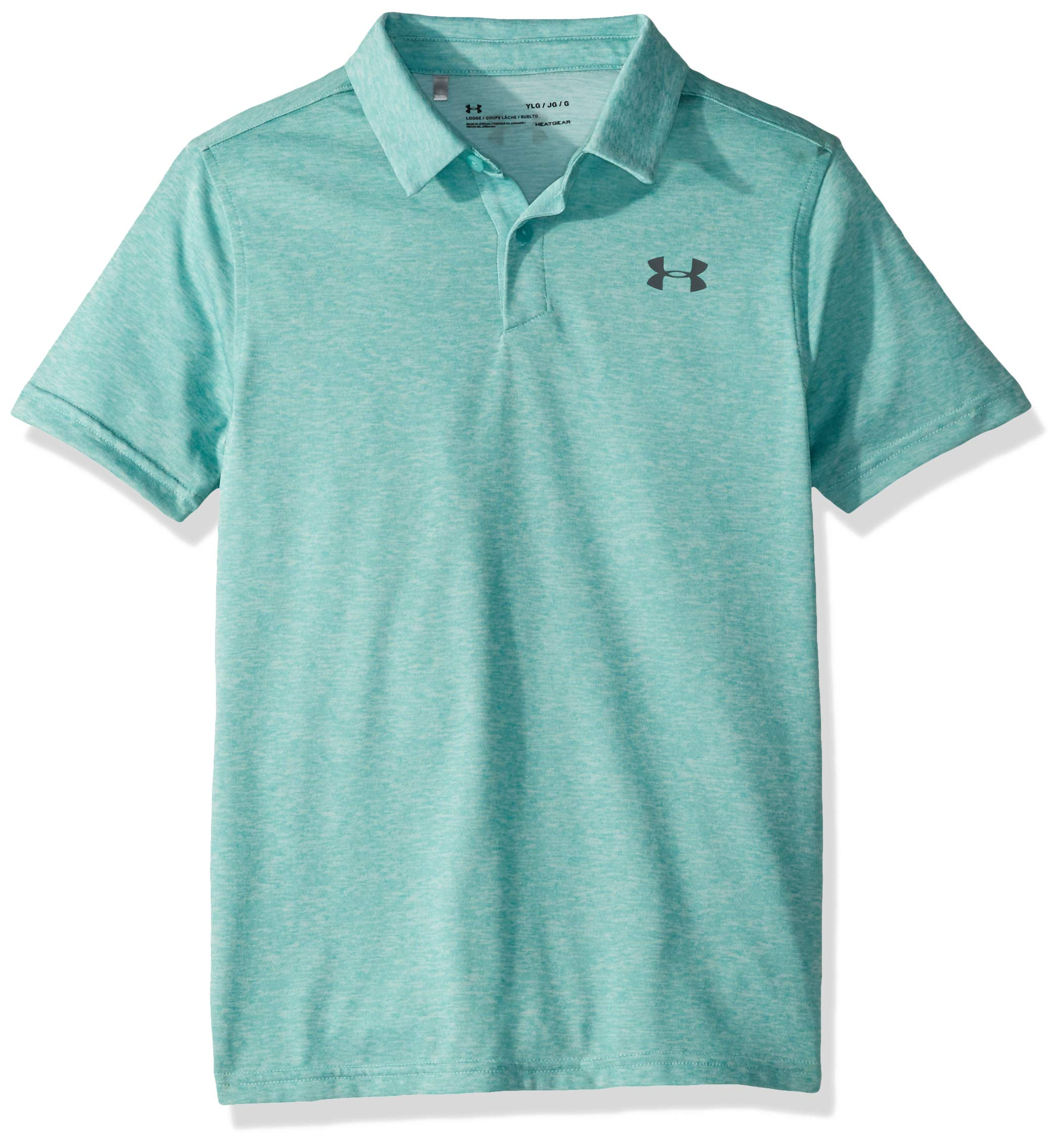 Under Armour Tour Tips Polo, Azure Teal Light Heather//Pitch, Youth Large