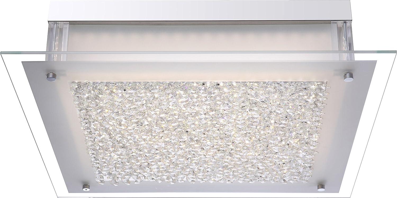 Praktische LED Deckenleuchte chrom Glas satiniert, satiniert, satiniert, Rand klar, Kristalle klar 20,5W - Globo LEAH 4931 ede311