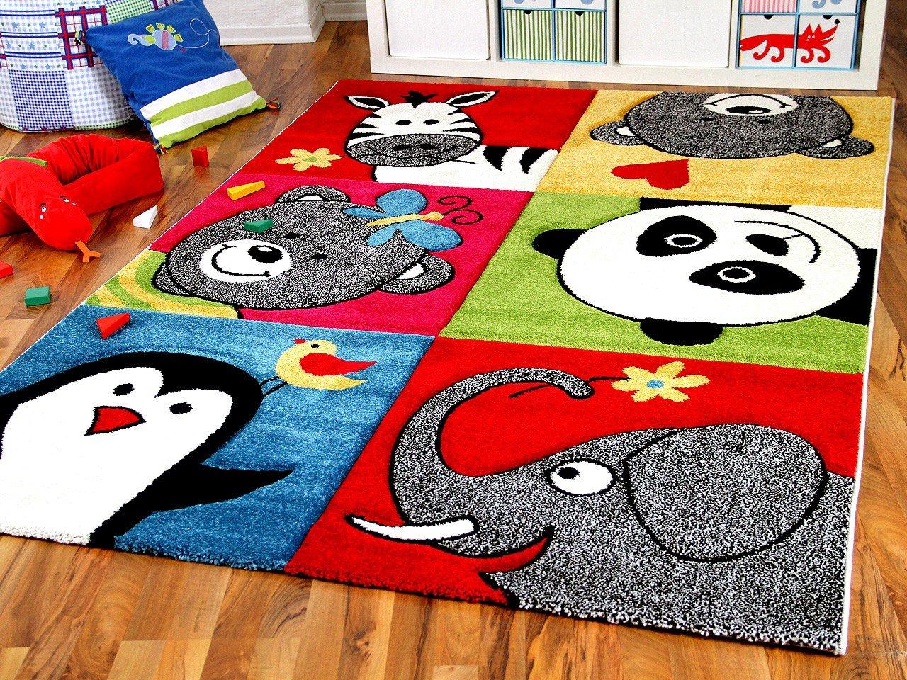 Savona Kinder Teppich Kids Lustige Zootiere Bunt in 5 Größen